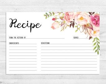 Recipe Cards, Bridal Shower, Boho Recipe Card, Watercolor, Floral, Printable, Instant Download, Recipe Card