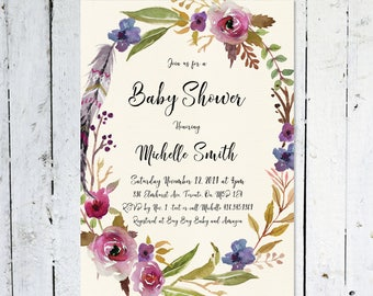 Floral wreath baby shower invitation, baby shower invitation girl, watercolour, maroon, purple, wreath, boho, feathers, printed