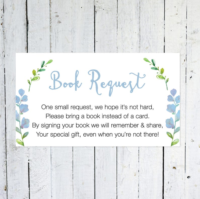 Book Request Insert But Floral Greenery Bring A Book image 0
