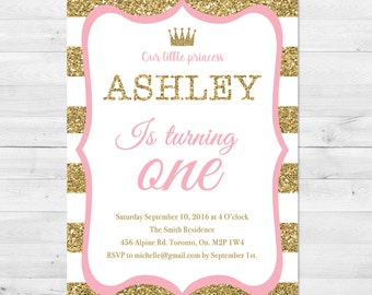 First Birthday Invitation Girl, Pink And Gold Birthday Invitation, Little Princess, Pink And Gold, Glitter, Sparkle, First Birthday