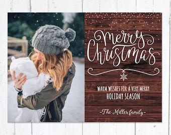 Photo Christmas Cards, Printed Photo Holiday Cards, Merry Christmas, Printable Christmas Cards, Snowflakes, Rustic
