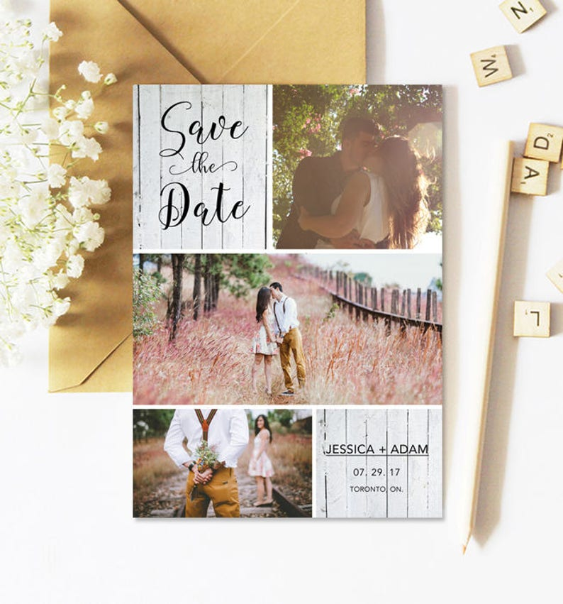 Save The Date Cards Rustic Photo Multiple Photo Printable image 0