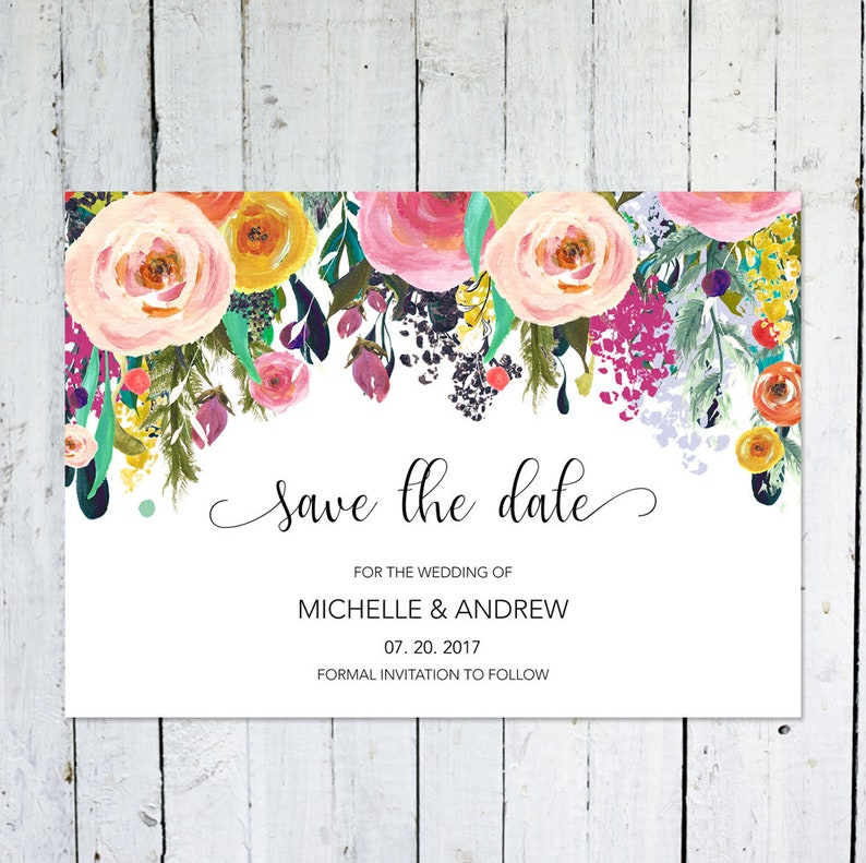 Wedding Save The Date Cards Floral Watercolor Colorful Save The Date Invitation Save The Date Printable DIY Postcard Printed