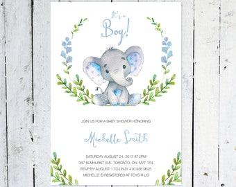 Baby Shower Invitation Boy, Elephant Baby Shower Invitation, It's A Boy, Wreath, Greenery, Blue, Grey, Printable, Printed