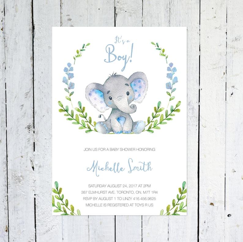 Baby Shower Invitation Boy Elephant Baby Shower Invitation image 0