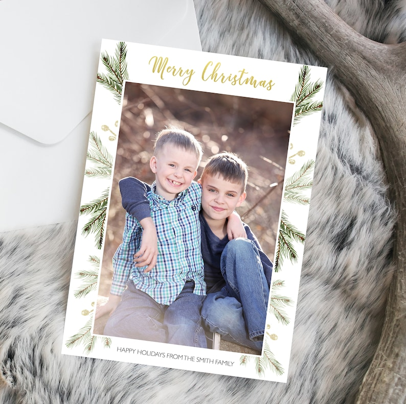 Photo Christmas Card Gold White Green Pine Modern image 0