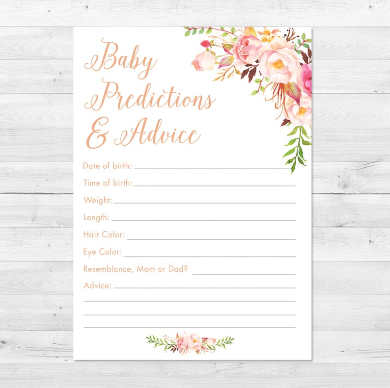 photo regarding Baby Prediction Cards Free Printable named Youngster Shower Prediction Card Printable, Boho Boy or girl Shower Game titles, Boy or girl Shower Assistance Card, Youngster Shower Game titles, Floral Little one Shower Predictions