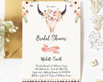 Rustic Bridal Shower Invitation, Boho Bridal Shower Invitation, Floral, Watercolor, Antler, Fall, Boho, Printable, Rustic Bridal Shower