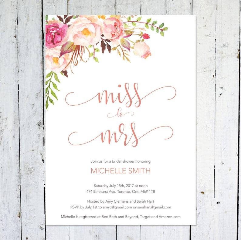 Miss To Mrs. Bridal Shower Invitation Boho Bridal Shower image 0