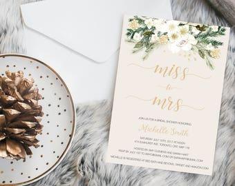 Bridal shower invitation, miss to mrs bridal shower invitation,  gold, greenery,  floral bridal shower invitation, printed bridal invitation