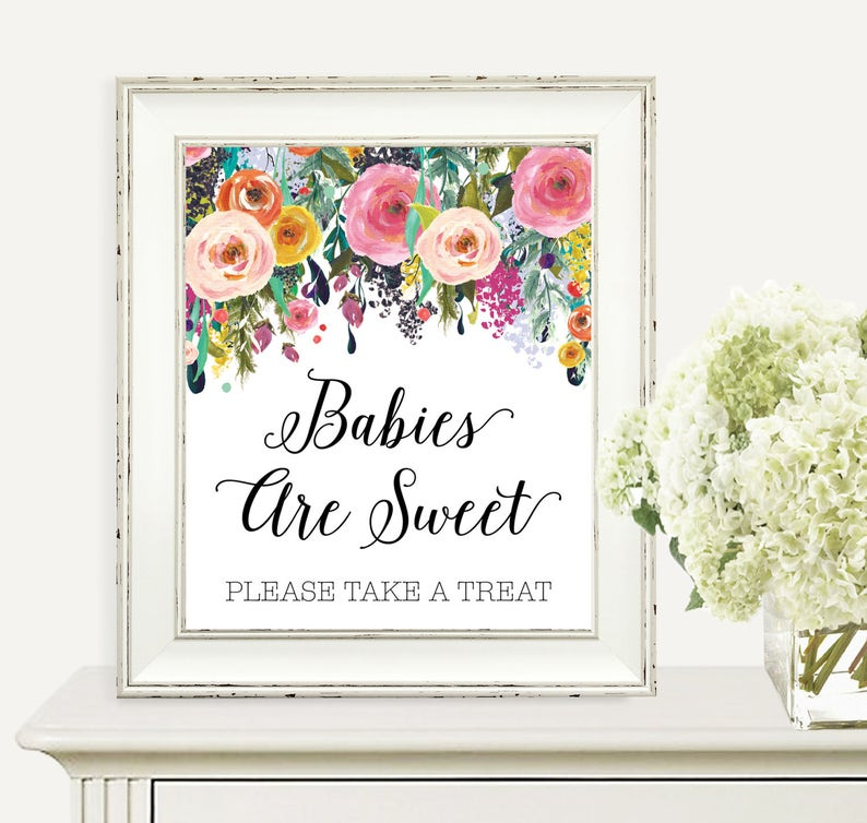 Babies Are Sweet Please Take A Treat Baby Shower SIgn Babies image 0