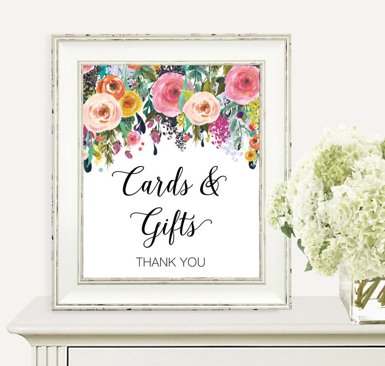 Gifts And Cards Sign Colorful Floral Baby Shower Sign image 0