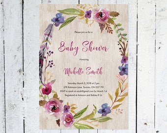 Baby Shower Invitation Girl, Boho Baby Shower Invitation, Floral, Watercolor, Wreath, Rustic, Flowers, Printable, Printed