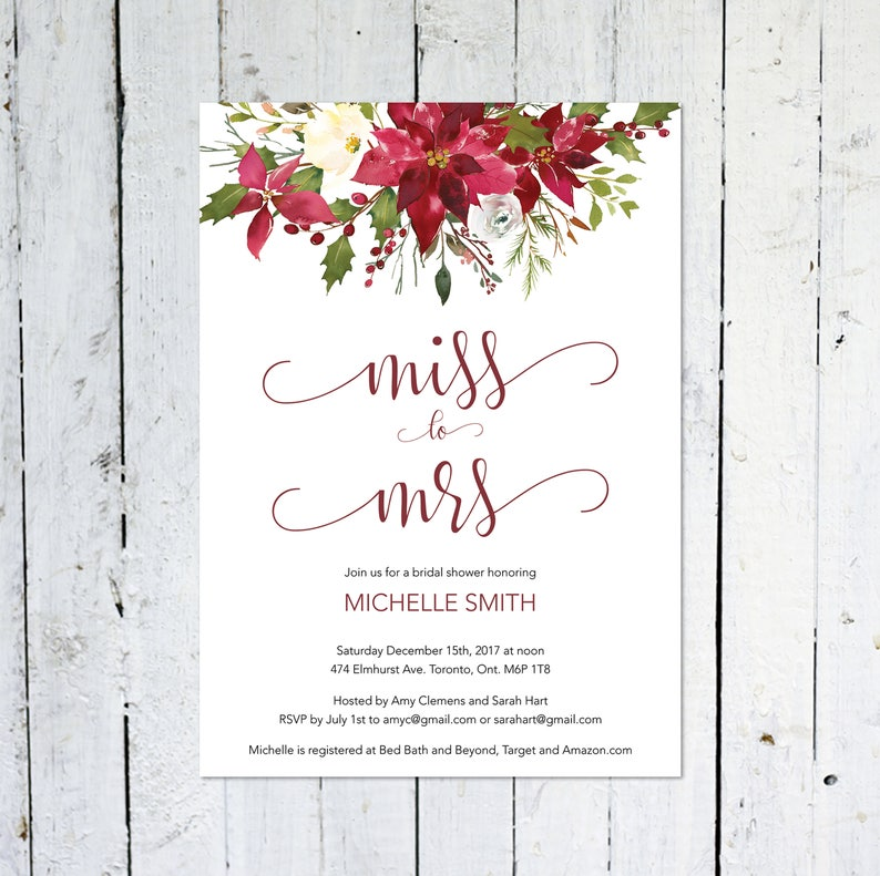 Christmas Bridal Shower Invitation Miss To Mrs. Winter image 0