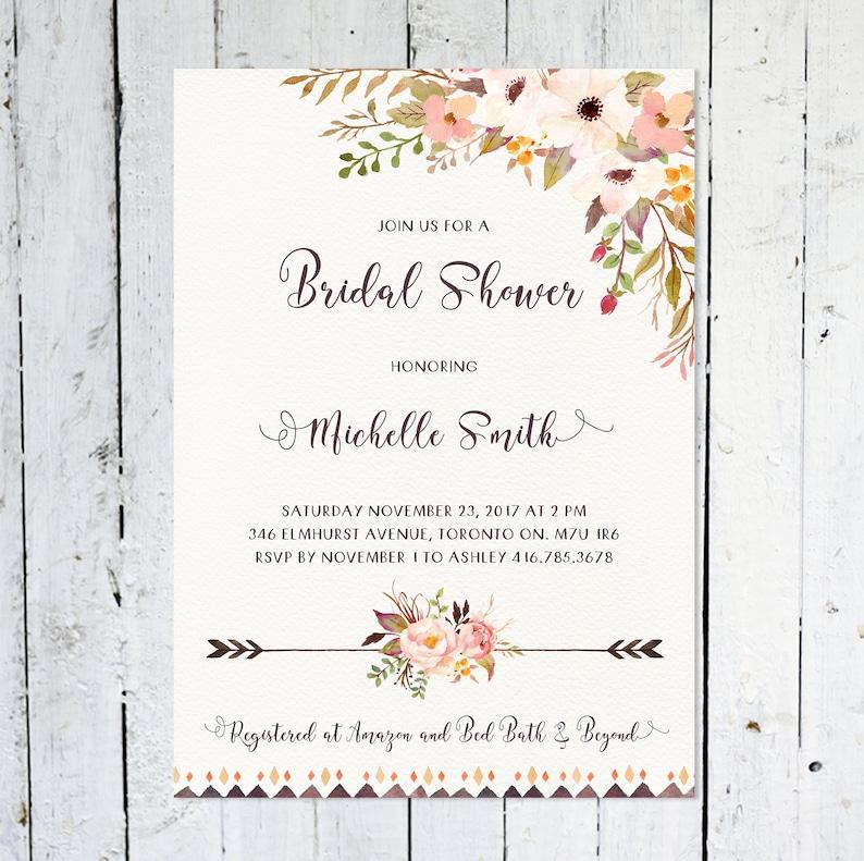 Bridal Shower Invitation Boho Bohemian Floral Watercolor image 0