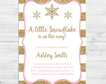 Baby Shower Invitation Girl, Winter Baby Shower Invitation, A little Snowflake Is On The Way, Pink, Gold, Printable, Printed