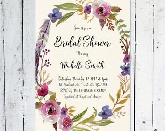 Bridal Shower Invitation, Floral Wreath, Watercolor, Maroon, Purple, Wreath, Boho, Feather, Printed, Printable