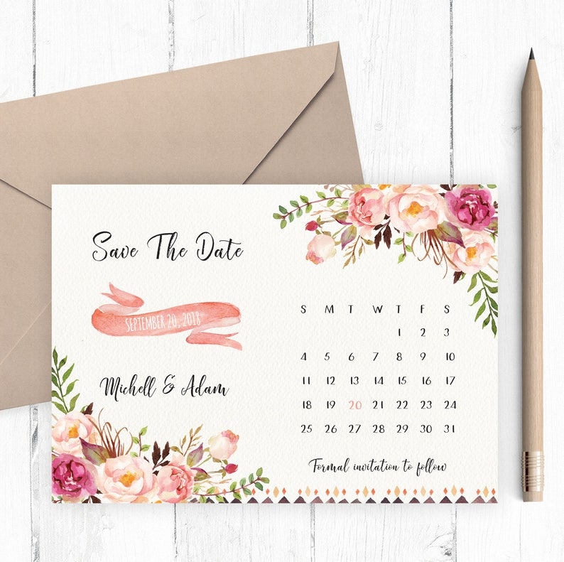 Save The Date Card Floral Calendar Save The Date image 0