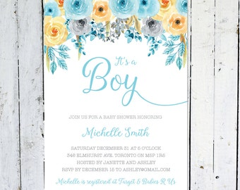 Baby Shower Invitation Boy, It's A Boy, Watercolor, Floral, Blue, Grey, Yellow, Printed, Printable