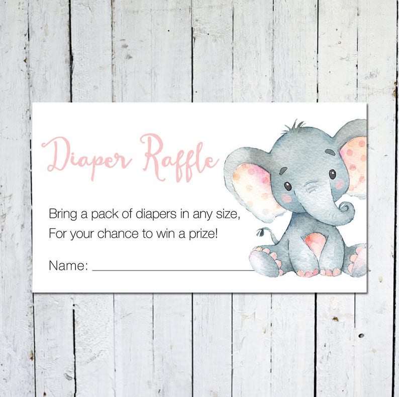 Diaper Raffle Ticket Baby Shower Elephant Pink and Gray image 0