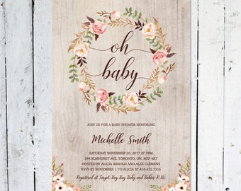 Rustic Baby Shower Invitation Girl, Oh Baby, Boho Baby Shower Invitation, Fall, Rustic, Floral, Summer,  Printable, Printed