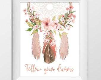 Nursery Print Girl, Watercolor Dream Catcher Print, Follow Your Dreams, Floral, Boho, Nursery Decor, Instant Download
