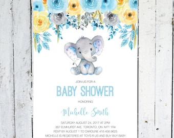 Baby Shower Invitation Boy, Elephant Baby Shower Invitation, Blue, Yellow, Gray, Floral, Watercolor, Printable, Printed