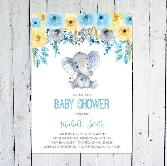 Baby shower invitation boy elephant baby shower invitation etsy image 0 filmwisefo