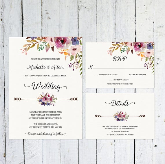 Hochzeit Einladung Set Boho Hochzeitseinladung RSVP Karte