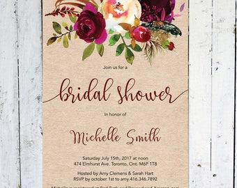 Bridal Shower Invitation, Fall Bridal Shower Invitation, Maroon, Floral, Rustic, Kraft Paper, Printable, Printed, Marsala, Burgundy, Feather