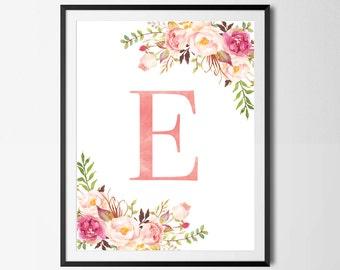 Initial nursery print, floral monogram wall art, initial art, Boho, printable nursery decor, pink initial print