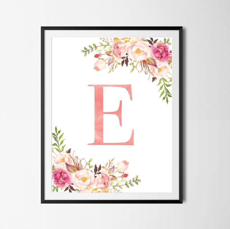 Initial nursery print floral monogram wall art initial art image 1