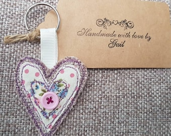 Applique heart keyring with any initial on the back