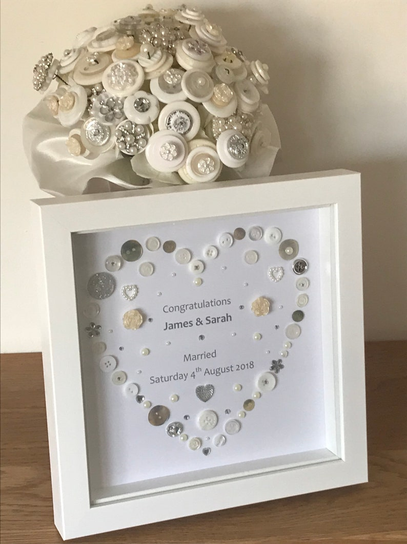 Wedding Frame Love Gifts Personalised Wedding Gifts Mr and Mrs Bride and  Groom Wedding Gift Button Art Wedding Gift Ideas Wedding Day Gift