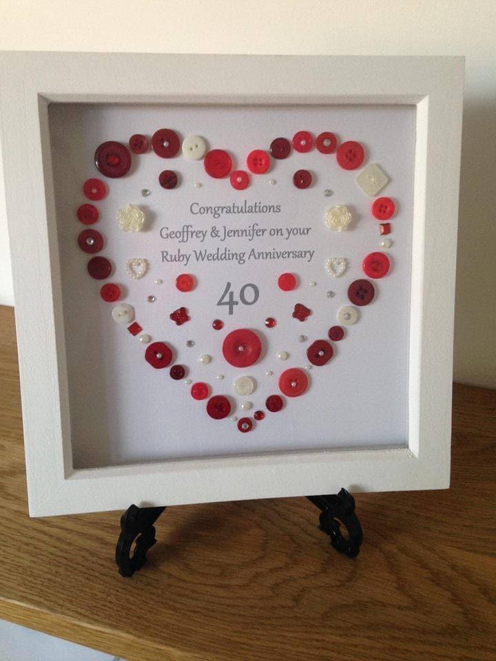 Ruby Wedding Anniversary Gifts Uk: Ruby Wedding Anniversary Button Art Gift Personalised