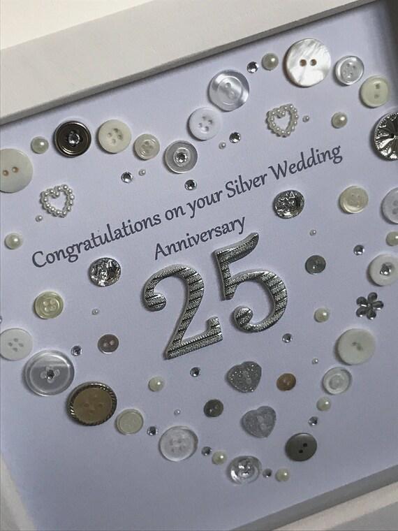 Silver Wedding Anniversary Button Art Gift Handmade Heart Etsy
