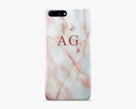iPhone 7 Plus / 8 Plus Marmo Monogram con Nome A Bianco Custodia