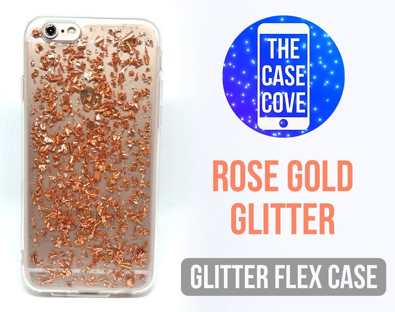 Flex Glitter Rose Gold iPhone Case 5 5s SE 6 7 8 Plus Rose  d7a324174