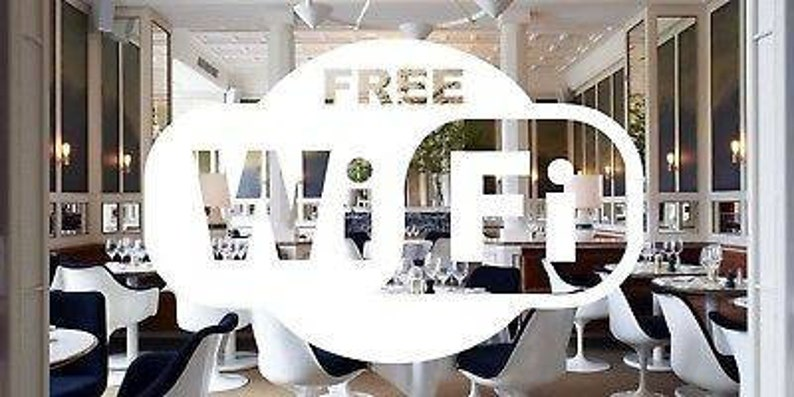 Wifi shop sign free coffeshop takeaway resturant White Colour