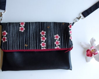 Bag Black and red fabric Japanese strap