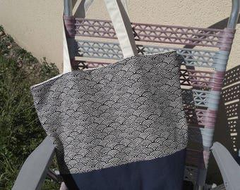 Blue Beach Tote in Japanese fabric bag