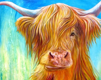 Highland Cow with Turquoise, Green and Blue - Cow Art Print of Highland Cow painting by Kate Green, Cow Lover and Scotland Lover Gift