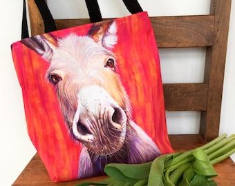 Donkey Tote Bag, Shopping Bag, Craft Supplies Bag, Gym Bag or School Bag; Donkey Lover Gift, Gift for Vet, Gift for Mom, Gift for Farmer