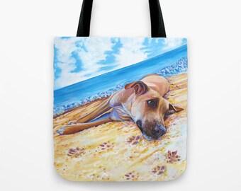 Dog Tote Bag, Dog Beach Bag, Dog Gym Bag, Dog Diaper Bag, Craft Bag or School Bag; Dog Lover Gift