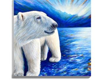 Polar Bear Canvas Print, Polar Bear Art of Original Polar Bear painting by Canadian artist Kate Green, Polar Bear Lover Gift, Canadian Art