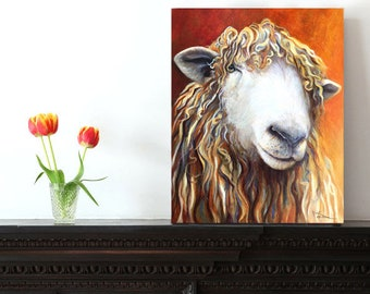 Sheep Painting as Art Print on Paper or Canvas Print, Sheep Lover Gift, Country Style Art, Farmhouse Decor, Sheep Wall Decor, by Kate Green