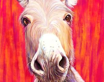 Donkey Art Print, Donkey Lover Gift, Unframed Fine Art Donkey Giclée, Original Hot Pink, Red and Orange Donkey painting by Kate Green