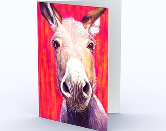 Cute Animal Card, Donkey Card, Farm Animal Card, Fun Blank Birthday Card, All Occassion Greeting Card, can also be 5x7 Farm Animal Art Print