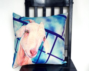 """Goat pillowcase or goat pillow. Design """"White Goat"""" acrylic painting by Kate Green"""