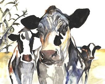 Three Cows , Holstein Cow Art Print of Original Cow painting by Kate Green, Cow Lover Gift